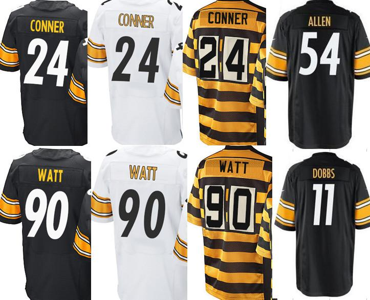 2a46349b5 ... Mens 90 T. J. Watt Jersey 24 James Conner 11 Joshua Dobbs Allen Sutton  Black White Yellow Mens 90 T.J. Watt Steelers 2017 draft Elite Jersey Cheap  ...