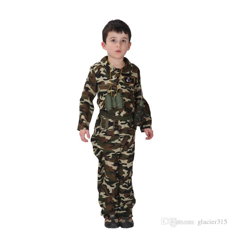2017 shanghai story children stage army costumes halloween costume special forces handsome soldier jacket pants camouflage clothing from glacier315 - Halloween Army Costumes