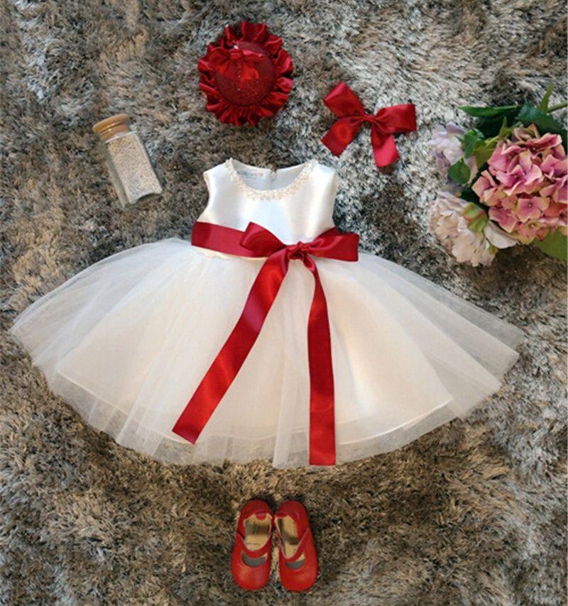fc6518d24 2019 Wholesale White Baby Girl 1st Birthday Dress Infant Party Tutu ...
