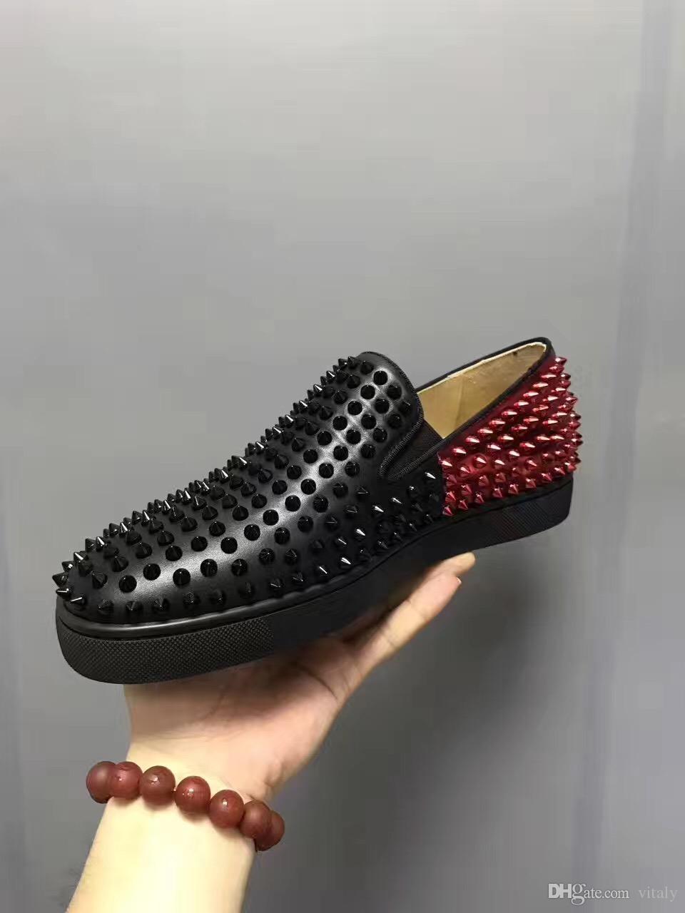 Zapatos Compre Inferior Moda Rojo 2017 Remaches Hombres Picos w88406Tx