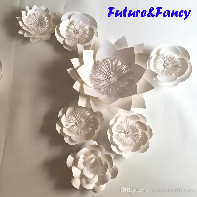 2019 Pure White Giant Paper Flowers For Wedding Backdrops