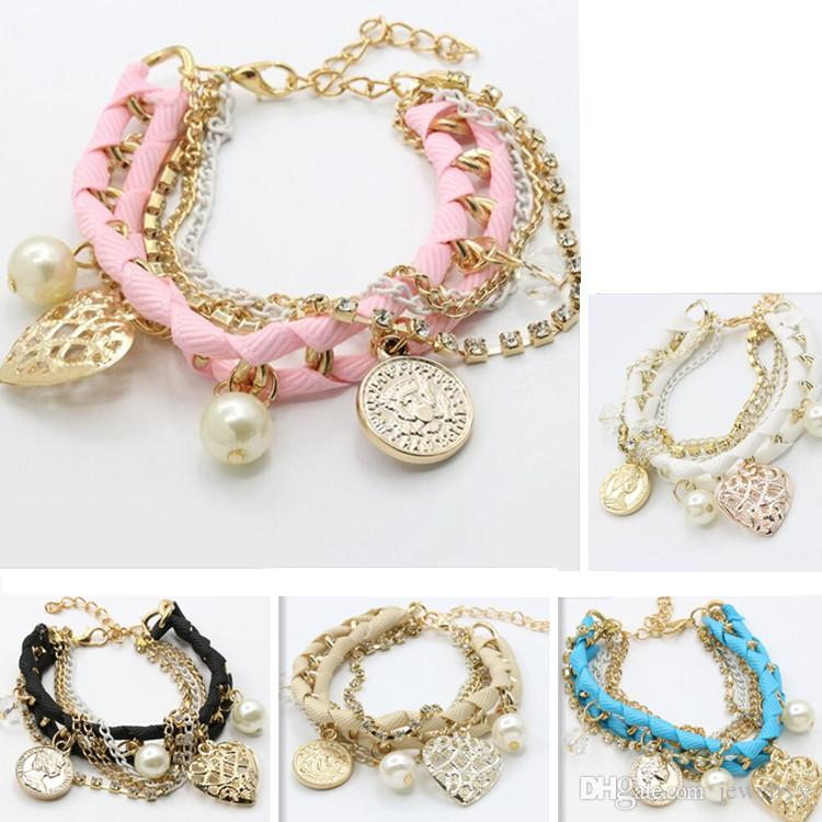62f3c2cea Super Fashion Multi Layer Chain Bracelet Braided Roap Pearl Love Heart Coin  Charm Bracelets Crystal Wristband Bangle For Girls Gifts Best Friend Charms  ...