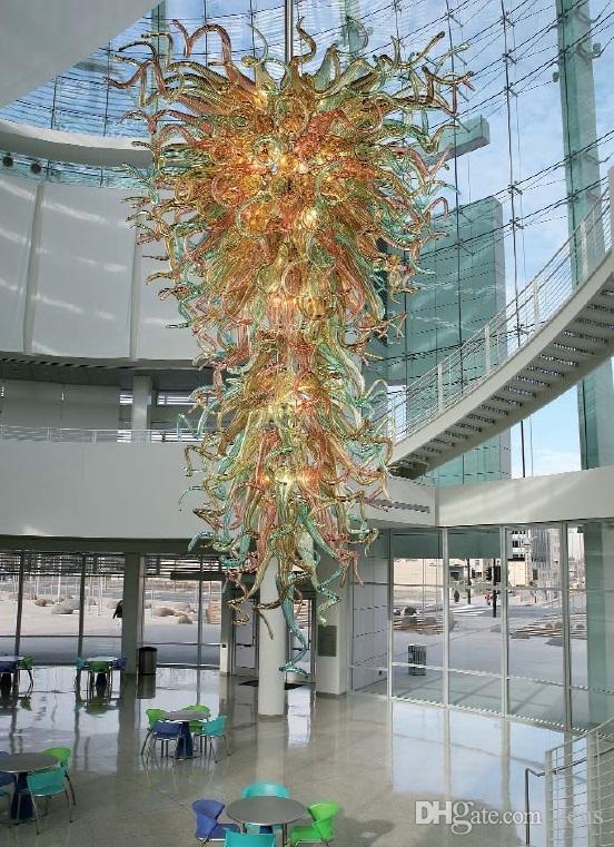 Grand rez de chaussée en verre soufflé Lustre LED Modern Style Lumière CE / UL Certificat Hôtel Hall Centre commercial verre Lustre