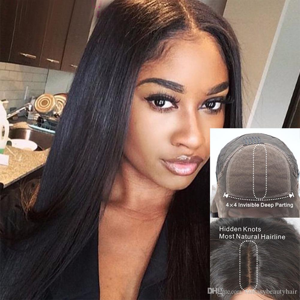 Italian yaki brazilian human hair wigs Yaki Straight 4*4 Silk Top full lace wigs ponytail braided lace wigs for African American