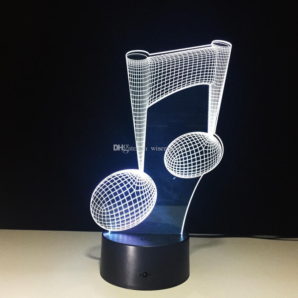 3D Музыка Мелодия Иллюзия Лампа Night Light DC 5 В USB Зарядка 5-й Батареи Оптовая Dropshipping Бесплатная Доставка Розничная Коробка