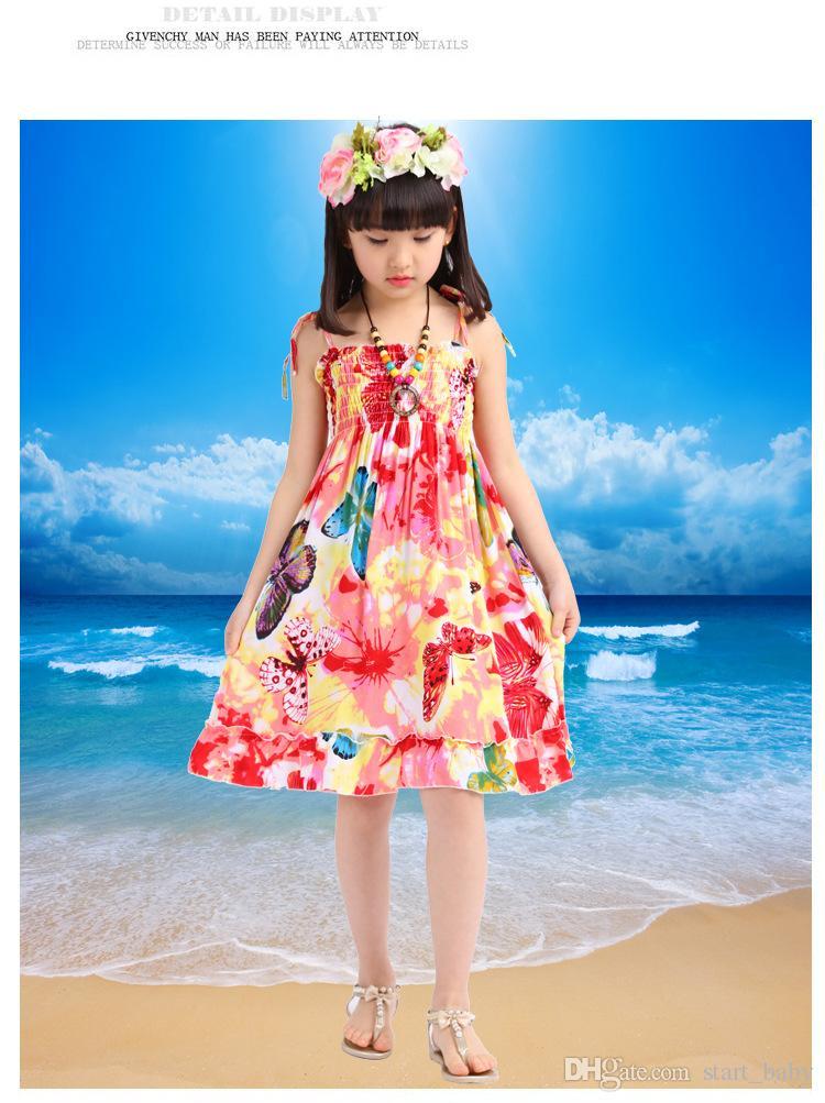 Girls Cotton Backless Bohemian Beach Dress Summer Elastic Bust with Shoulder-straps Children Dress