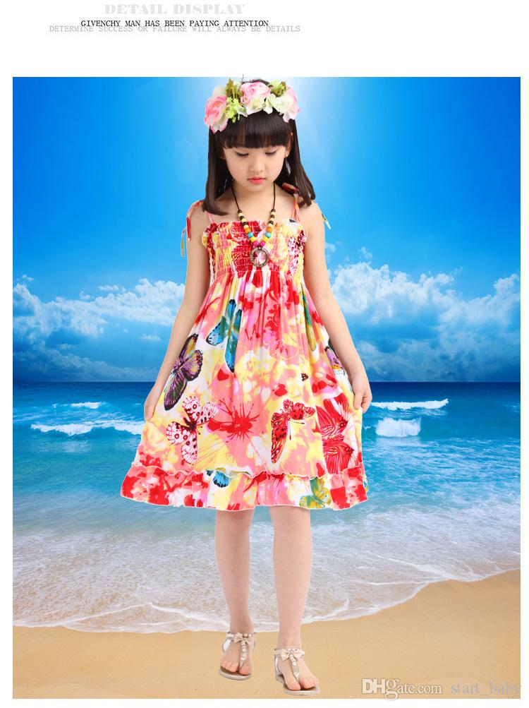 Mädchen Baumwolle rückenfrei böhmischen Strandkleid Sommer elastische Büste mit Schultergurten Kinder Kleid 8 Farben