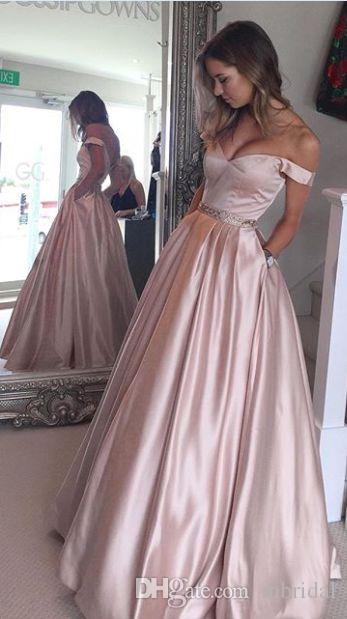 Großhandel Elegante Einfache Lange Rosa Abschlussball Kleider Weg ...