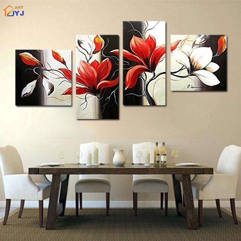 Magnolia Wall Art 4 panels modular magnolia picture handmade modern abstract oil