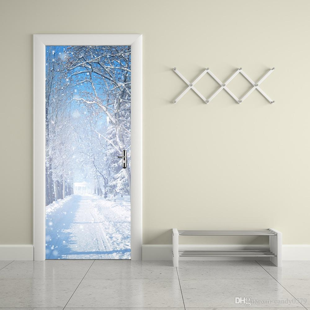 The Winter Snow Scenery Door Stickers 3d Pvc Self Adhesive Wallpaper  Waterproof Door Decoration Beach Wall Stickers Bedroom Decal From  Candy0579, ...