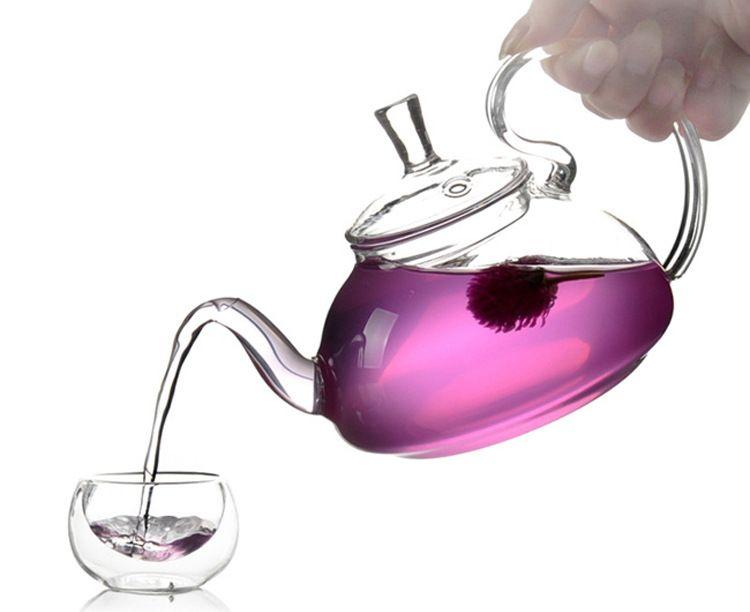 600 ml Résistant À La Chaleur Avec Haute Poignée Fleur Café Verre Thé Pot Blooming Chinois Théières En Verre J1011-2