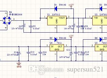 LM7912 LM7812 Linear power supply schematic pcb power supply 7812 LM7912  7905 rectifier bridge 7805