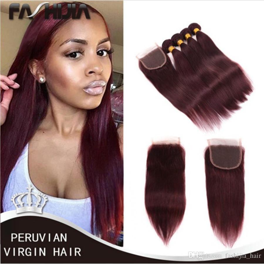 Best 99j Red Peruvian Straight Human Hair Extension 4 Bundles Dark