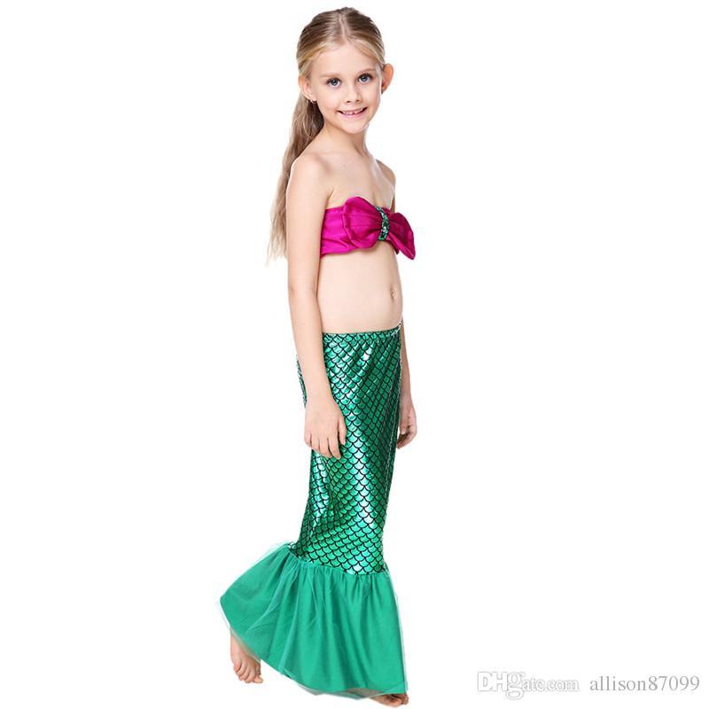 Cute Mermaid Tail Scale tulle tail Cosplay performance Swimwear for girl Bathing suit Beachwear Wrap top+ skirt+panties Bikini 2017