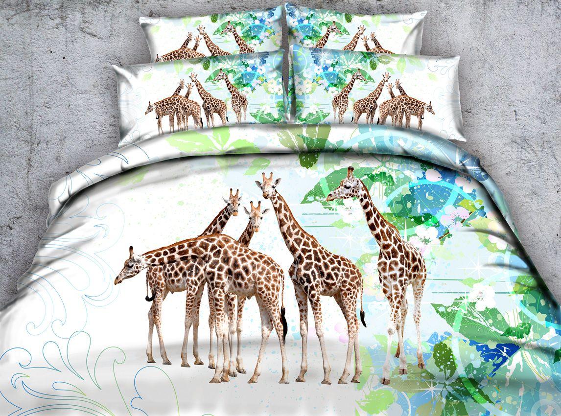 New five striped giraffe 3d printed bedding set twin full queen king size duvet cover set pillow shams comforter bedspreads green bed linens comforter sets