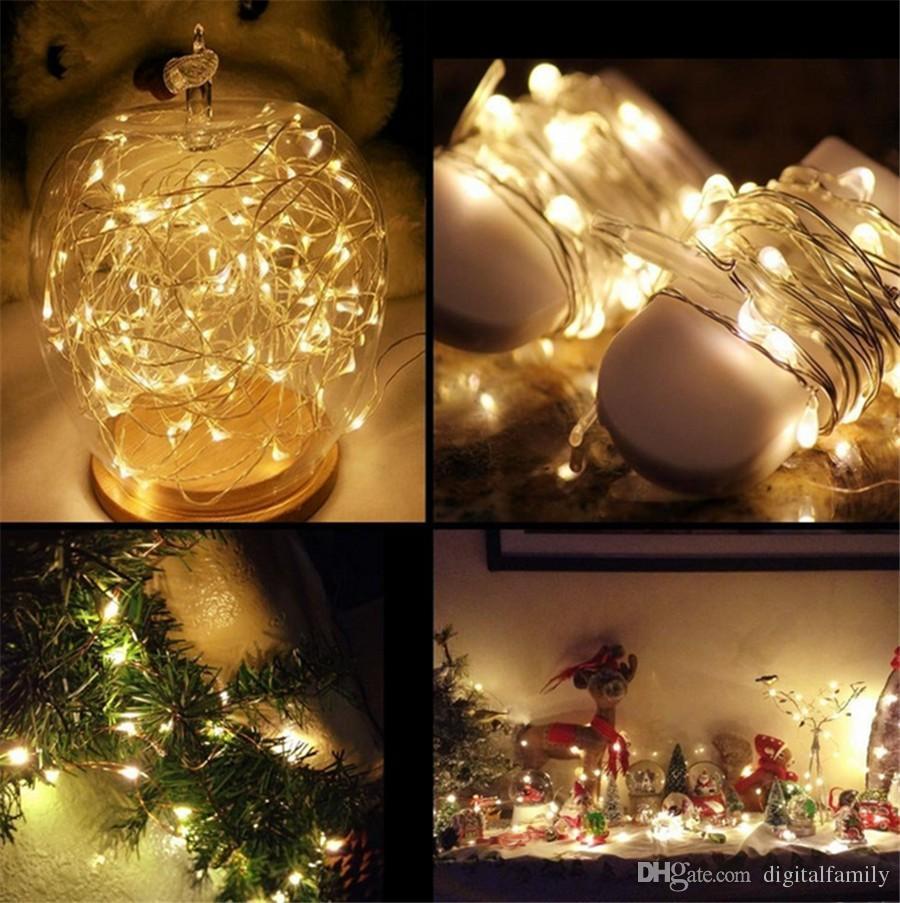 2M 20LEDs LED-String-CR2032-Batterie betrieben Micro Mini Light Kupfer-Silber-Draht Starry LED Streifen für Weihnachten Halloween Dekoration