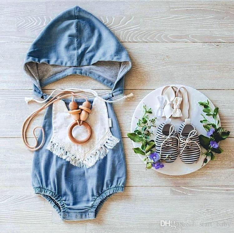 INS baby girls infant toddler Romper Denim With Hat Romper diaper covers bloomers Ruffles headwrap cotton
