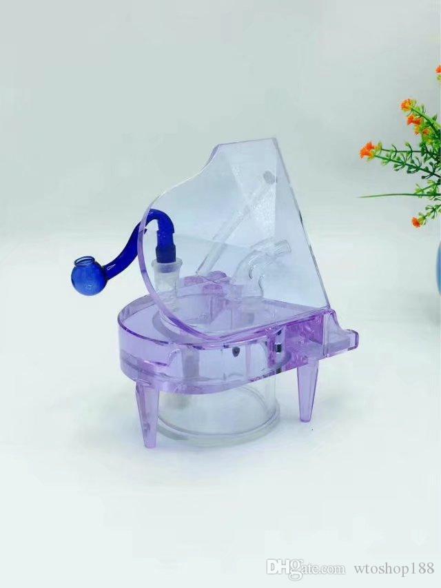 Piano Crystal narghilè non contiene componenti elettronici, Bruciatore di olio unico Tubi di vetro Bong Tubi d'acqua Tubo di vetro Impianti di olio Fumo con Dropp