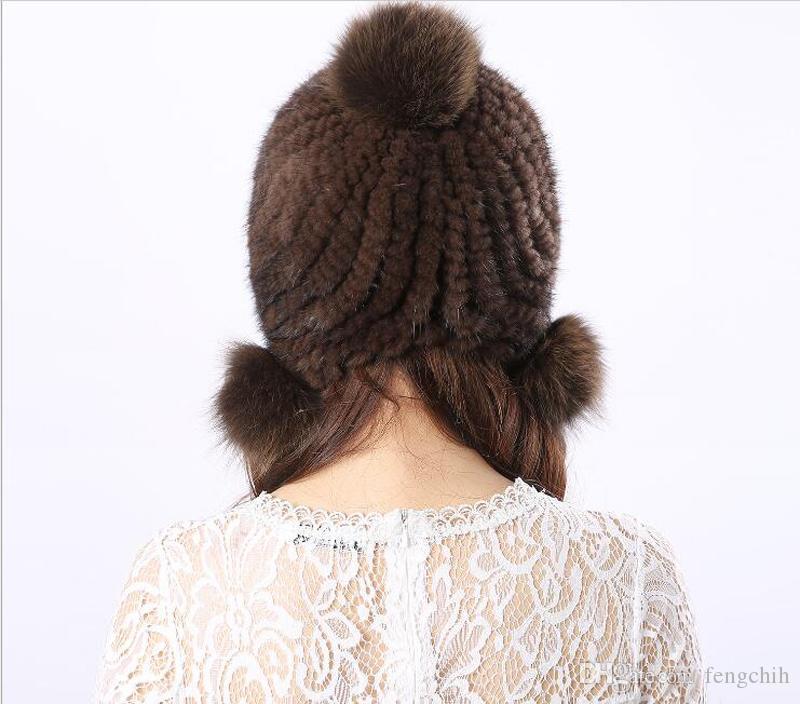Hot Dumplings Norek Włosy Trzy Piłki Kapelusz Futro Kobiety Modele Europa i Stany Zjednoczone Moda Jesień i Zimowy Gruby Fur Hat