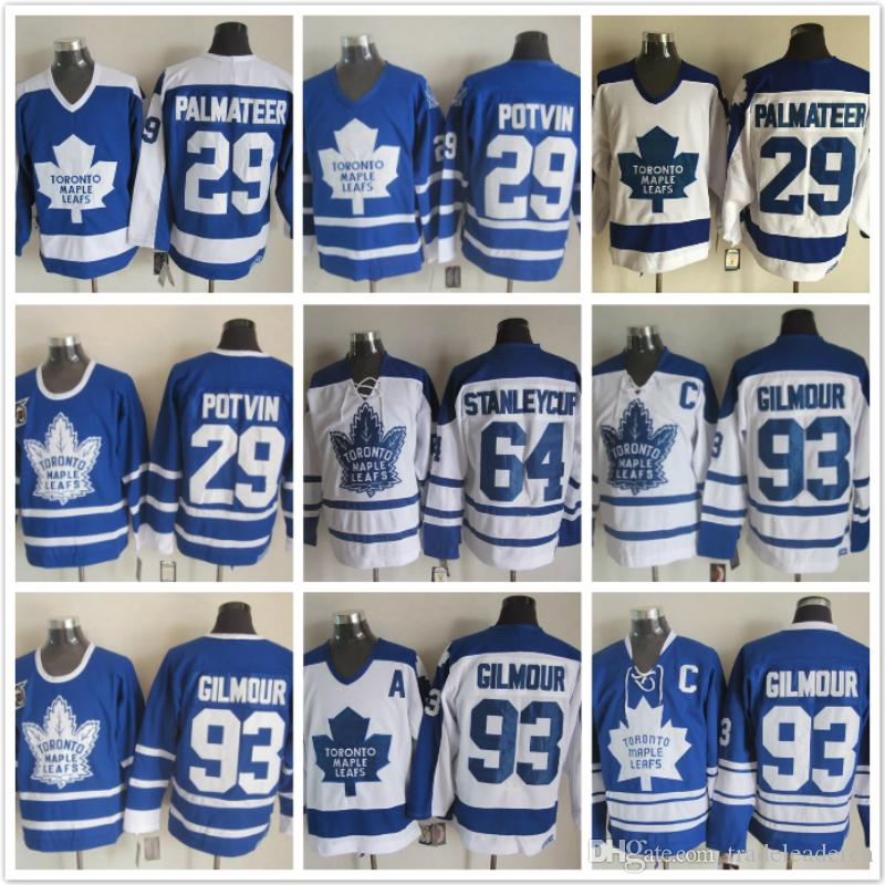 2019 Vintage Toronto Maple 29 MIKE PALMATEER 64 STANLEYCUP 93 Doug Gilmour  White Blue Ice Hockey Jerseys From Tradeleadercn 845f6699921