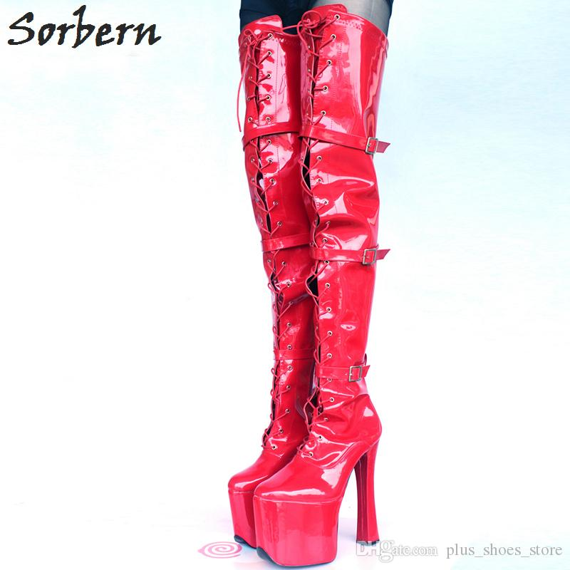 Sorbern Chunky Heel Stiefel Lace Up Plateaustiefel Damen 20cm Heel Pole Tanzschuhe über Knie Oberschenkel hohe Beinlänge Stiefel