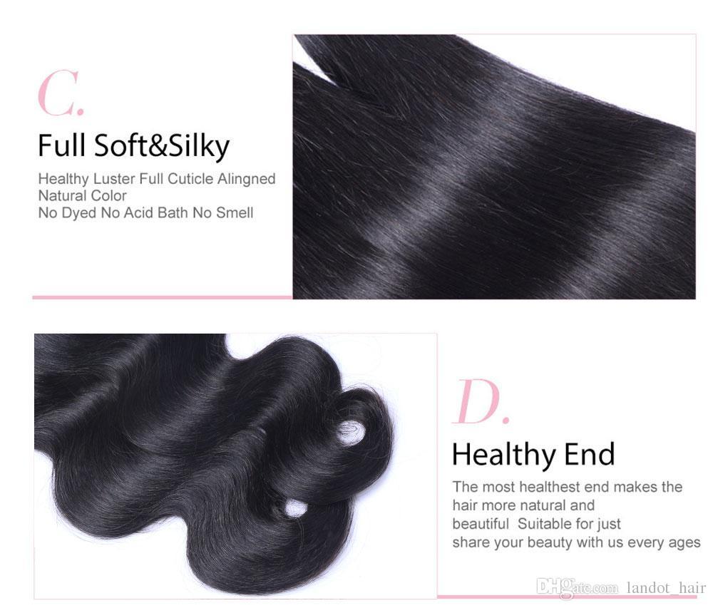 Необработанные бразильские девственные волосы тела волна дешевые бразильские волнистые Реми человеческие волосы плетет пучки 3/4 100 г / шт природных черные волосы расширения