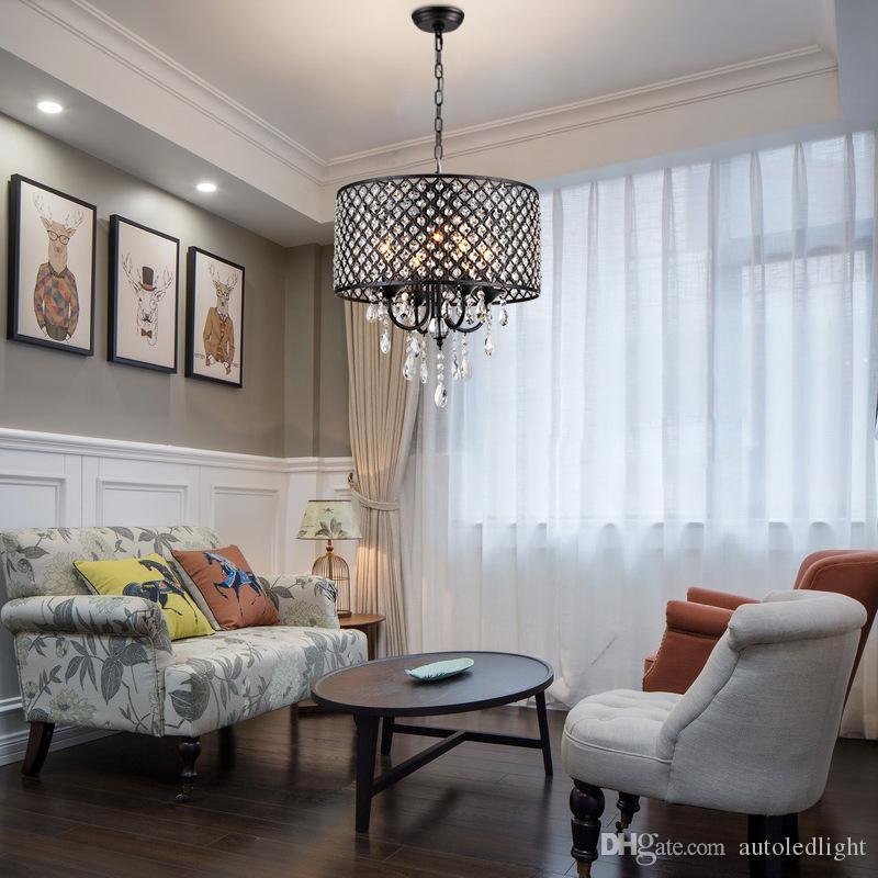 Lustres modernes avec 4 lumières pendentif avec des gouttes de cristal en rond, plafonnier pour salle à manger, chambre à coucher, salle de séjour