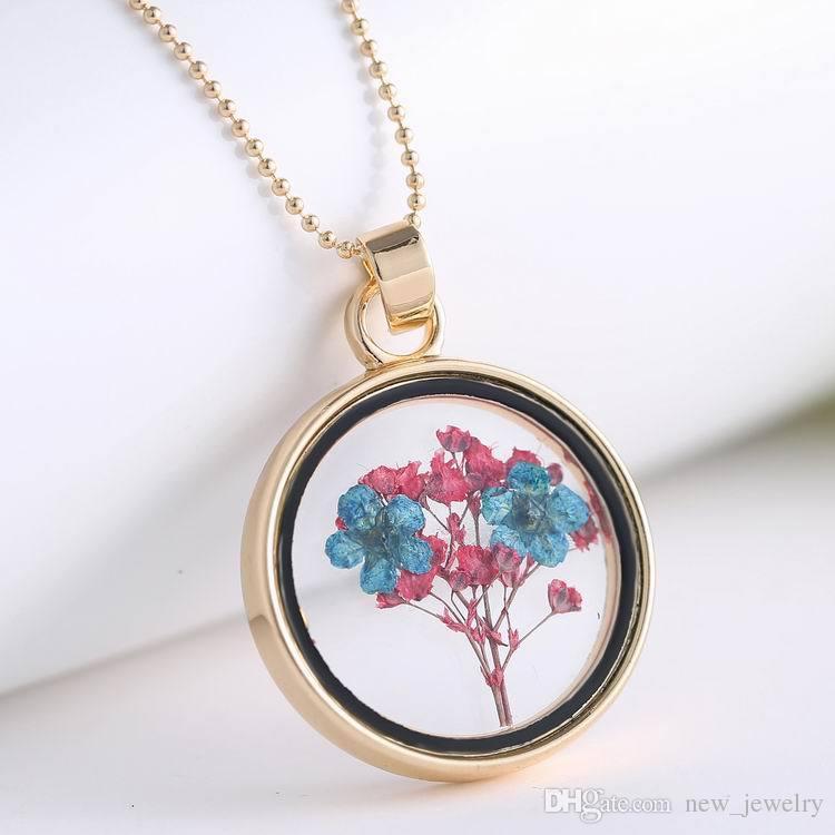 Yüksek kaliteli kolye yuvarlak yüzen madalyon açılamaz çiçek kristal kolye kolye kurutulmuş yaratıcı bitki örneği kolyeler