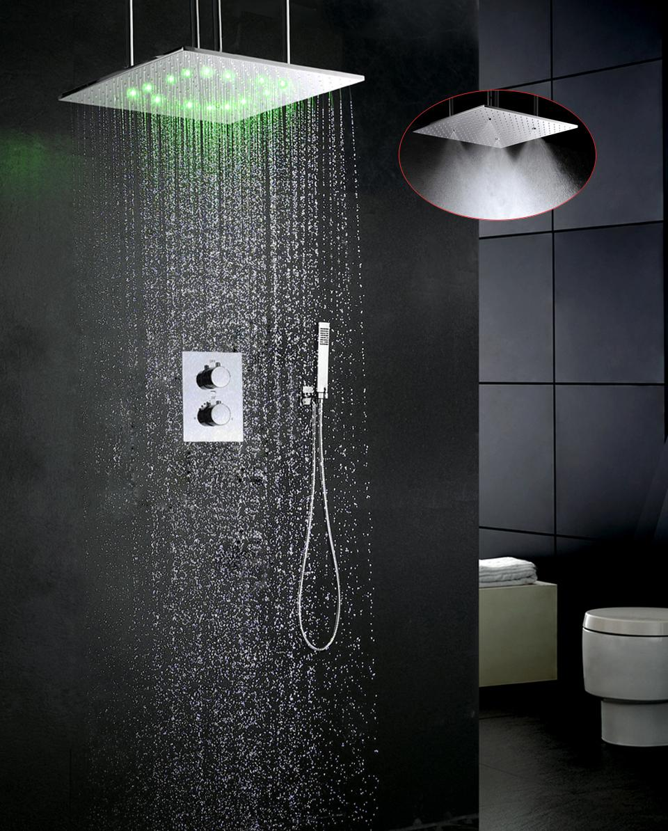 2019 Luxury Bathroom Faucet Set Water Temperature Led Shower Head