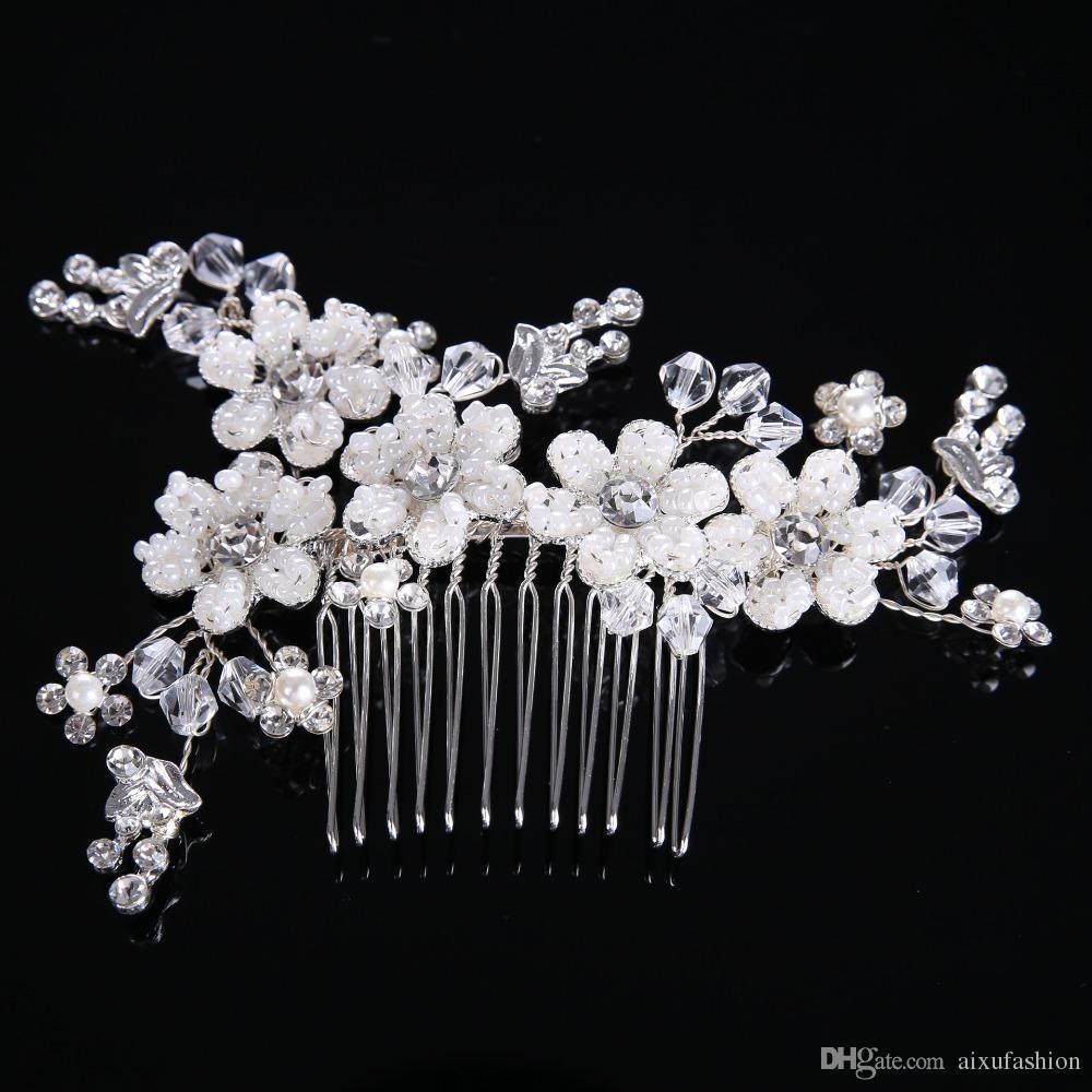 2018 luxury heavy handmade pearl flower hair combs crystal bridal