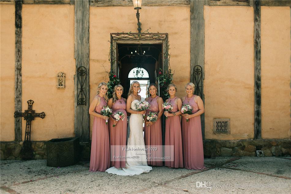 Pink Lace Country Bridesmaid Dresses Long Halter Neck Chiffon Plus Size Bridesmaids Dress Cheap Wedding Guest Gowns Custom Design