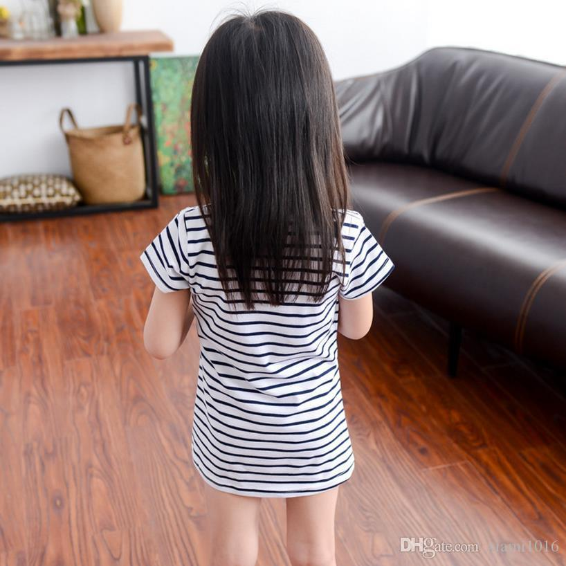 2017 Baby Girls Cotton Stripe Dress Cute Little Mouse Pattern Spring Summer Baby Clothes Daughter Gift Children's day