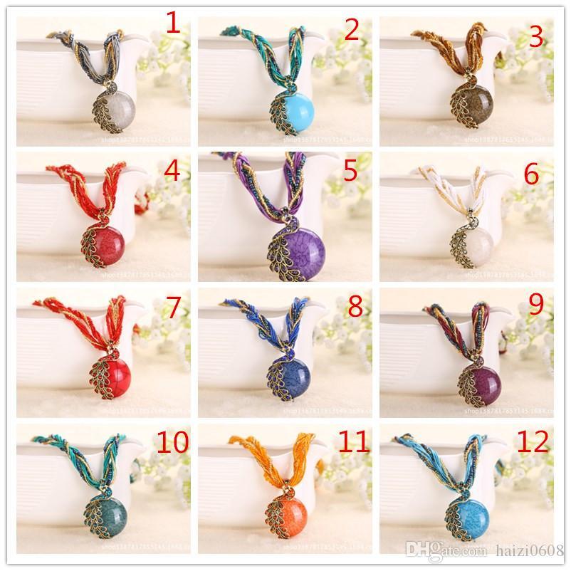 Женщины ретро свитер цепи кулон Богемия ожерелье ювелирные изделия Павлин аксессуары 17 цветов может быть смешанная партия