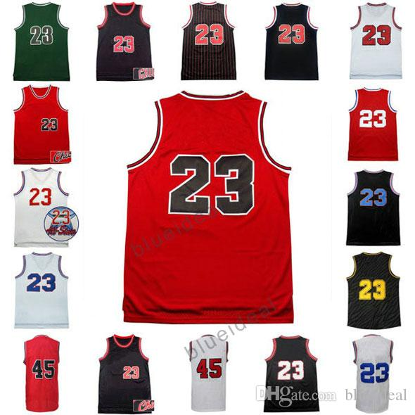 7b60a2a8306 2019 Men'S Throwback Basketball Jerseys Red Black Basketball Jerseys  Clothes #23 Shirt Adult Male #45 Uniforms With Player Name And Team Logos  From ...