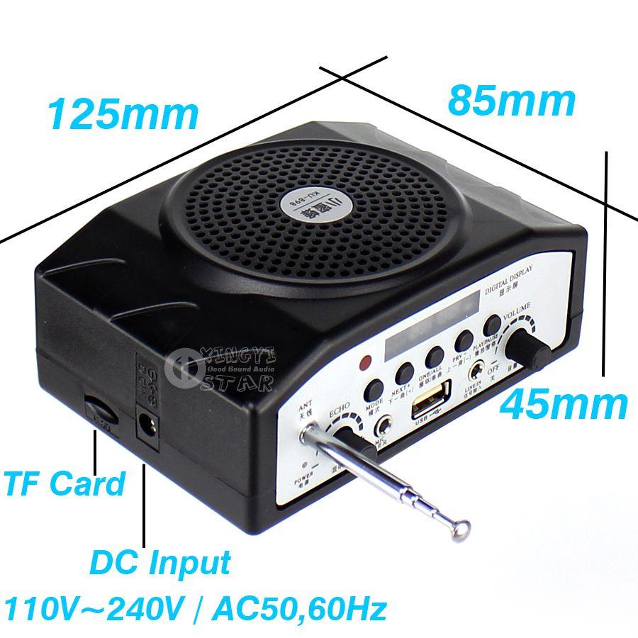 Beweglicher Verstärker-Audiomegaphon-Minilautsprecher Drahtloses Radio FM USB-Spieler-Lautsprecher mit Mikrofon für das Unterrichten des Sprache-Reiseführers