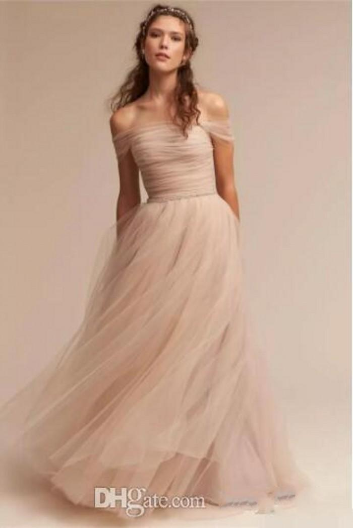Vintage Blush Bhldn Wedding Dresses Off The Shoulder Delicate