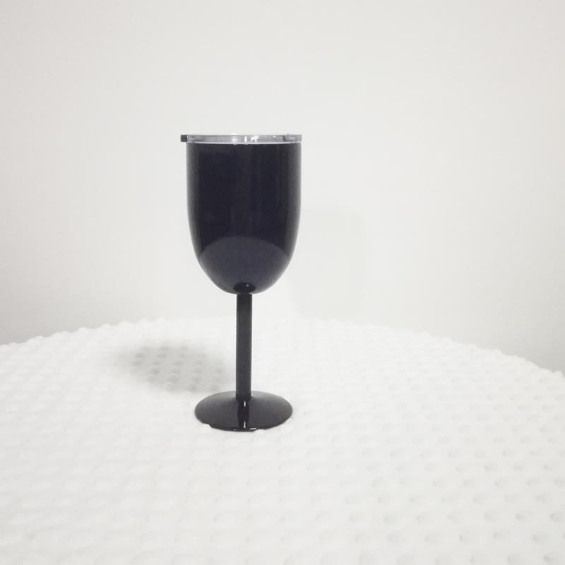 분말 코팅 14 온스 스테인레스 스틸 잔 슬라이딩 뚜껑 더블 벽 웨딩 토스트 빈티지 받침 고체 절연 와인 컵 DOM106606