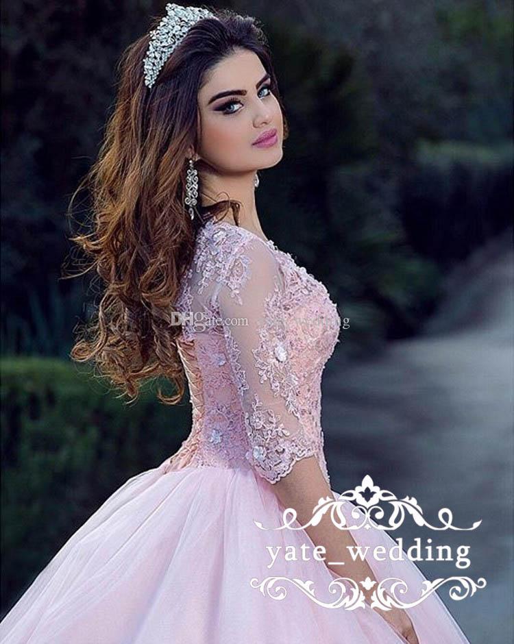 Modesta bola rosado del vestido vestidos de quinceañera Bateau cuello hacia arriba 16 Vestidos de baile vestidos de tul dulces corsé de encaje de 3/4 mangas largas de encaje apliques