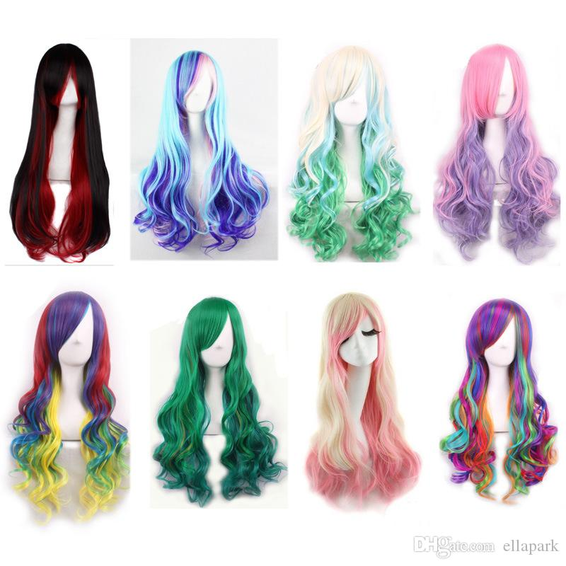 Cheap New Long Wavy Color Ladies Synthetic Hair Wig Rainbow Color ...
