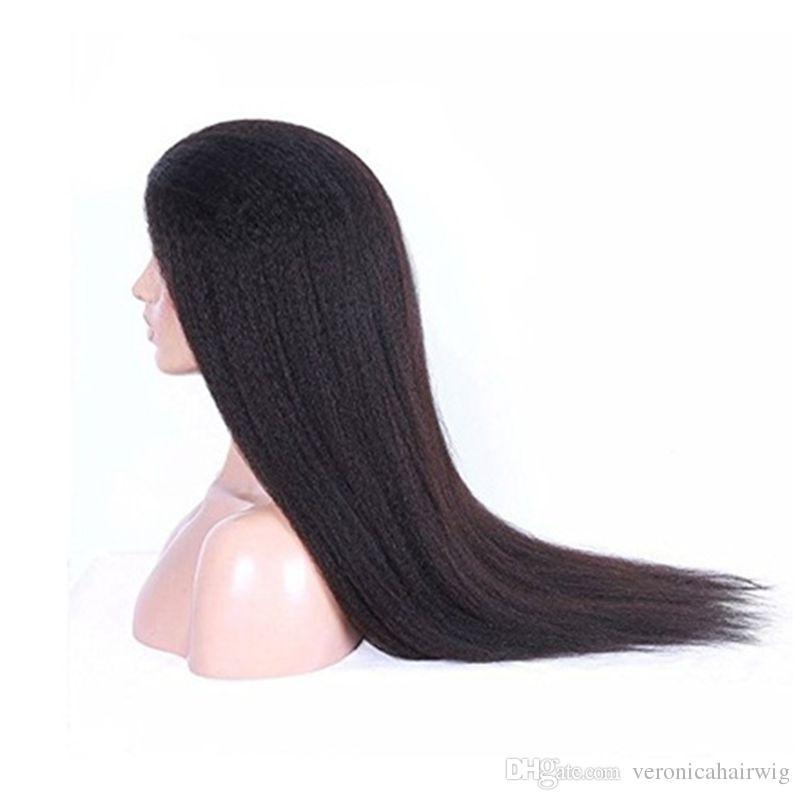 Natürliche Farbe Volle Spitze Verworrene Gerade Lace Front Haar Yaki Perücken Für frauen Haar Perücken 180% Hohe Dichte Gute Qualität