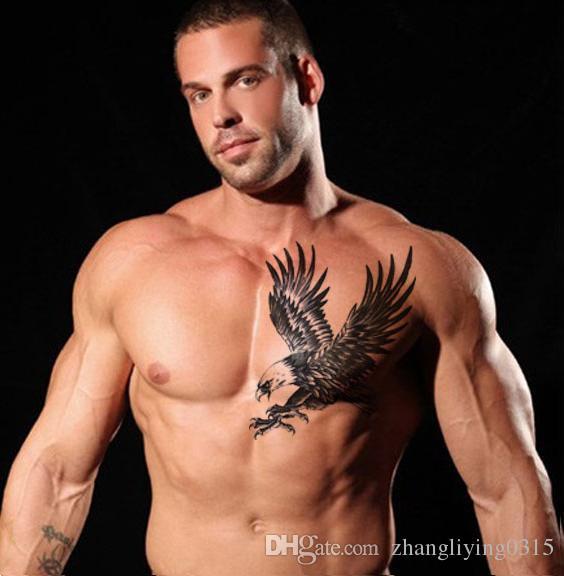 autoadesivi grandi dell'inchiostro del tatuaggio del henné nero disegni dell'aquila donne flash flash del tatuaggio temporaneo il petto di braccio
