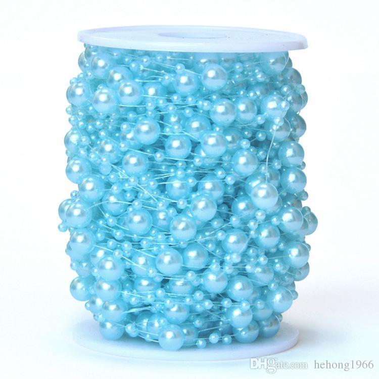 Ligne De Perle Imitation Perle 60 Mètres Chaîne De Perles En Plastique 8mm Plus 3mm Perles Connect Bijoux Accessoires 19 5rz R