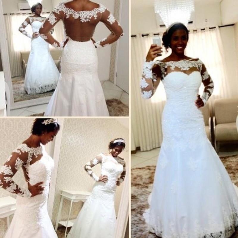 2018 Milla Nova Simple Satin Wedding Dresses 34 Long: Plus Size Mermaid Lace Wedding Dresses Sheer Neck Long