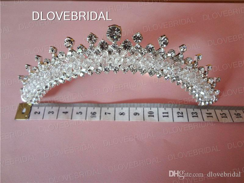 High Quality Clear Crystal Rhinestone Bridal Cown Factory Real Photo Wedding Tiara with Comb Event Party Hair Jewelry Accessories Headpiece