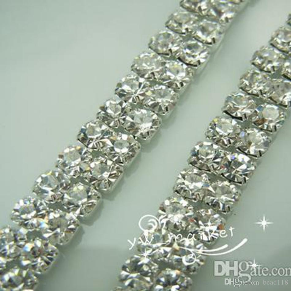 Bruiloft sieraden 2-nld SS16 Clear Crystal Rhinestone Trims Close CHARM SILVER 10 YARD