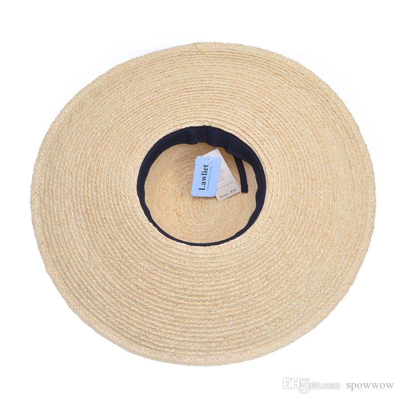 Femme Noir Bowknot Band Kentucky Derby Grand Bord Raffia Paille Floppy Soleil Summer Beach Hat T237