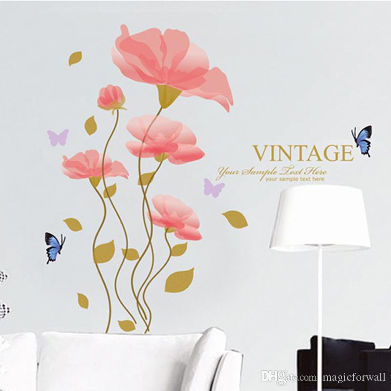 Pink Flowers Home Decor Wall Stickers Living Room Bedroom Headboard Wallpaper Poster Art Cabinet Furniture DIY Wall Graphic Decoration Mural