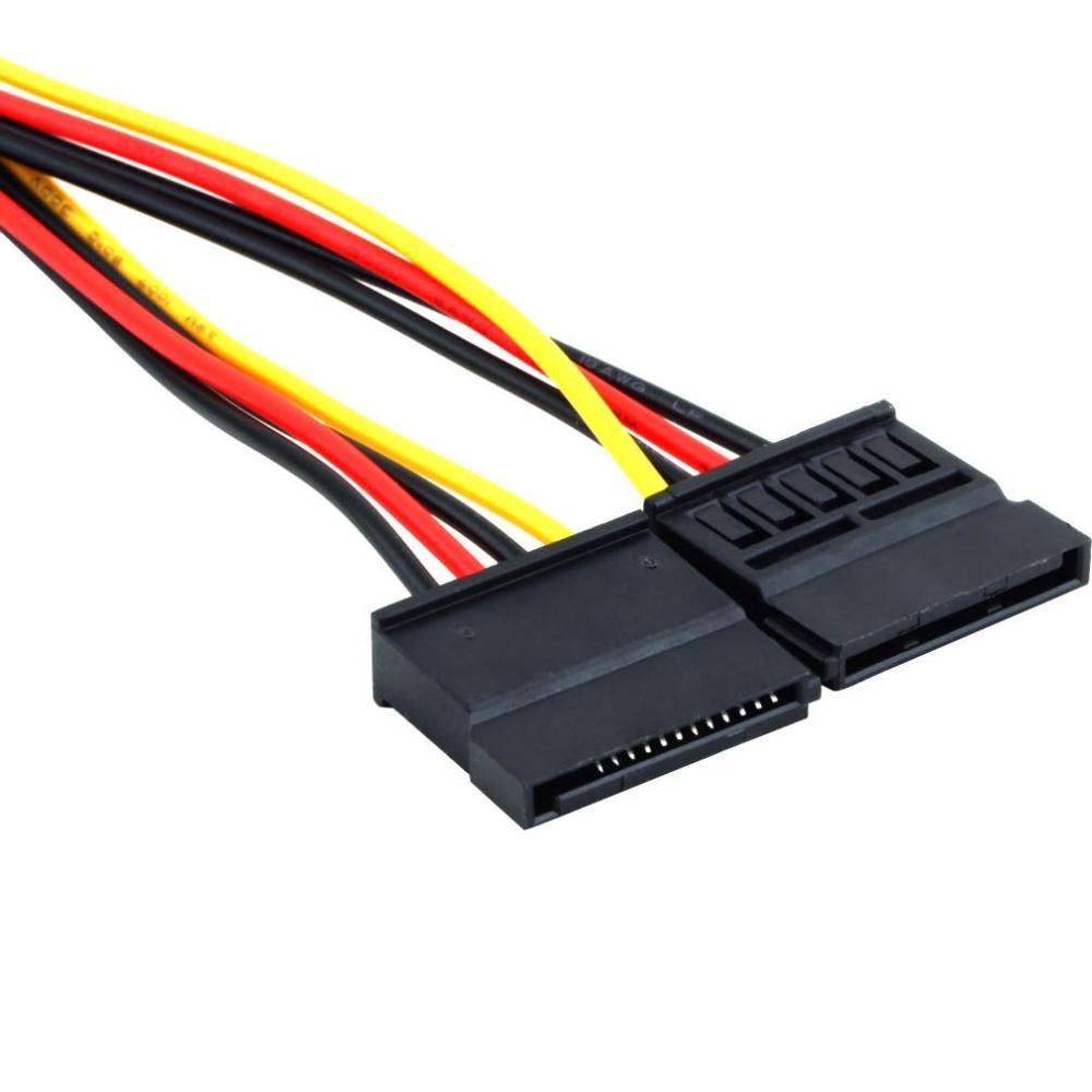 * 4pin Serial ATA SATA 4 Pin IDE Molex to 2 of double 15 Pin HDD Power Adapter Cable Hot Worldwide Promotion