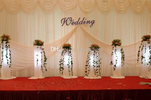 3m 6m wedding backdrop white beige color banquet curtains the