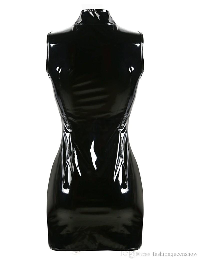 Top qualité gothique Punk col haut sans manches Catsuit Bodycon femmes noir PVC Mini robe brillant Zip Up mouillée Vestido Night Clubwear